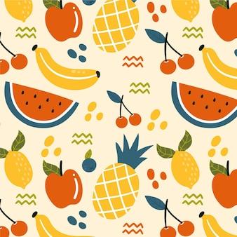 Patrón de frutas con cerezas