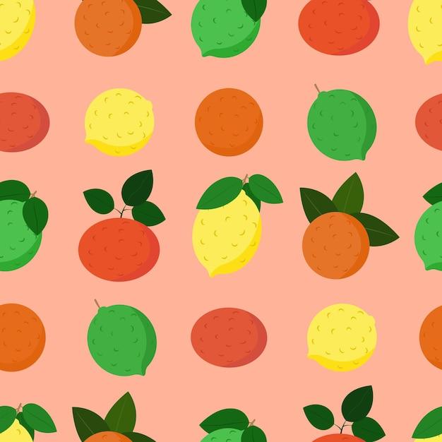 Patrón de frutas cítricas, limón, naranja, lima y pomelo con hojas de vector transparente