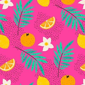 Patrón de frutas con cítricos
