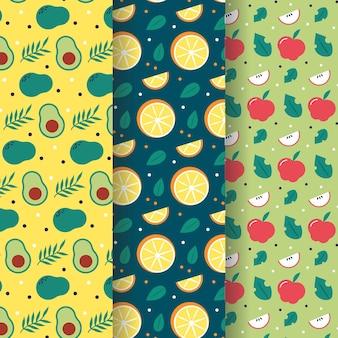Patrón de frutas con colección de aguacates, naranjas y manzanas
