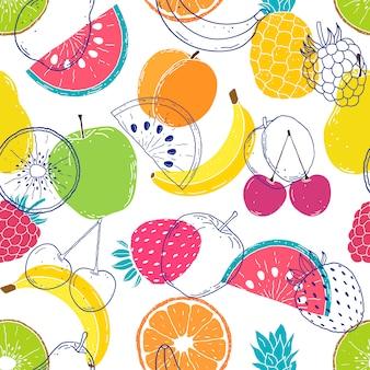 Patrón con frutas coloridas
