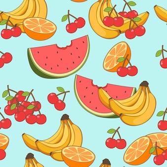 Patrón de frutas sin costuras en estilo de dibujos animados