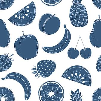 Patrón con frutas dibujadas a mano
