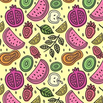 Patrón de frutas diseño colorido set
