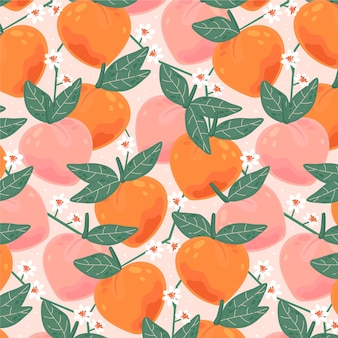 Patrón de frutas con duraznos