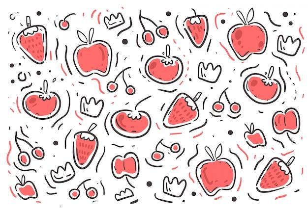 Patrón de frutas estilo garabatos