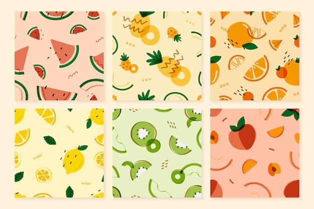 Patrón de frutas estilo memphis