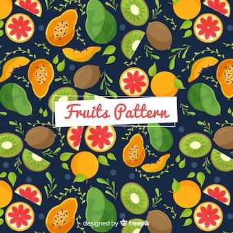 Patrón frutas exóticas dibujadas a mano