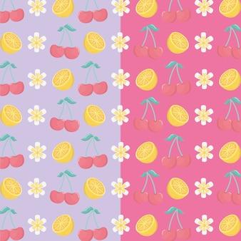 Patrón de frutas frescas de cerezas y naranjas