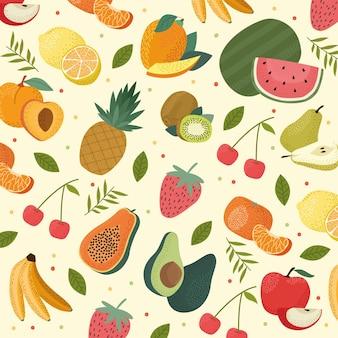 Patrón de frutas frescas