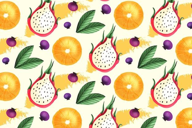 Patrón de frutas con fruta del dragón