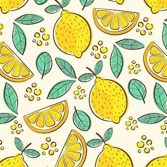 Patrón de frutas con limón