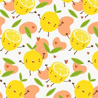 Patrón de frutas con limones felices