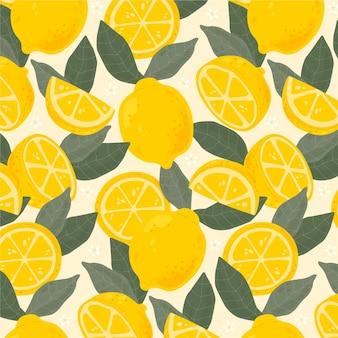 Patrón de frutas con limones
