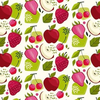 Patrón de frutas con manzanas
