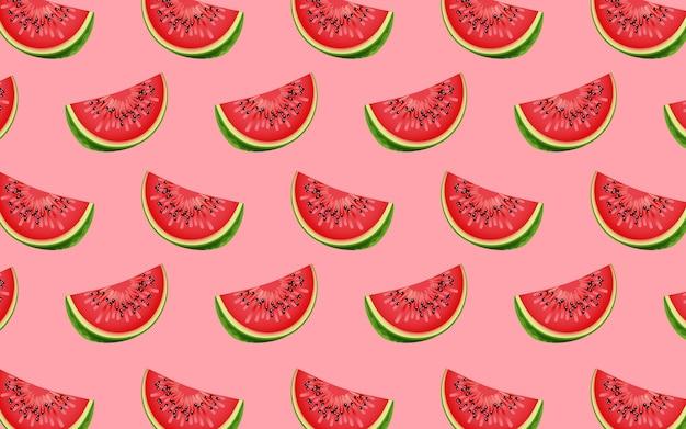Patrón de frutas de mitades de sandía fresca. desde la vista superior. vector