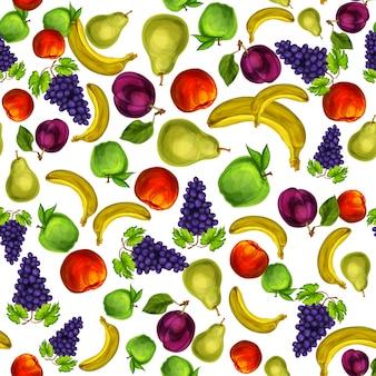 Patrón de frutas mixtas sin costuras