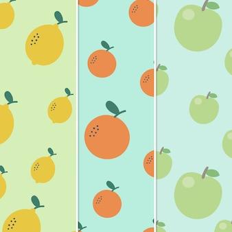 Patrón de frutas naranja y limón y manzana