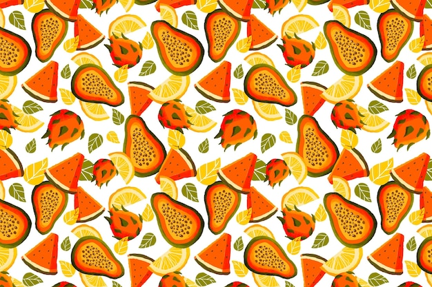 Patrón de frutas con papaya