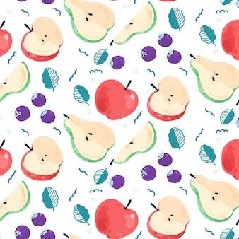 Patrón de frutas con peras y manzanas