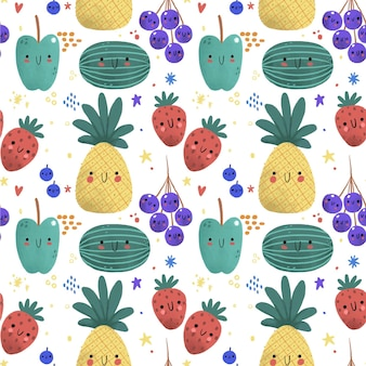 Patrón de frutas con piña