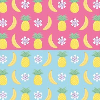 Patrón de frutas de piñas y plátanos frescos