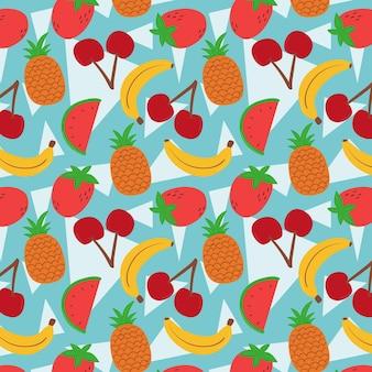 Patrón de frutas con plátanos y sandía