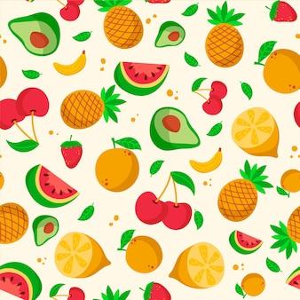 Patrón de frutas con sandía y piñas