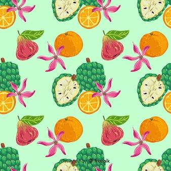 Patrón frutas tropicales colorido