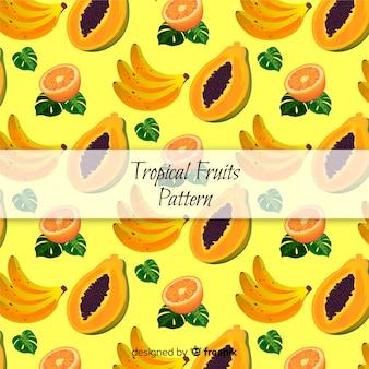 Patrón frutas tropicales dibujado a mano