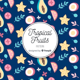 Patrón frutas tropicales y hojas dibujadas a mano