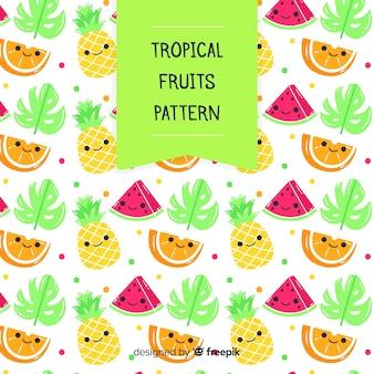 Patrón frutas tropicales kawaii