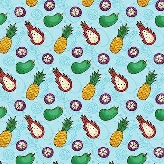 Patrón de frutas tropicales piña, mango, fruta del dragón, mangostán