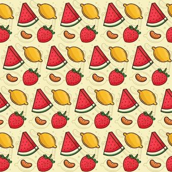 Patrón de frutas tropicales sandía, limón, naranja, fresa