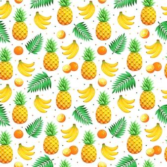 Patrón de frutas tropicales