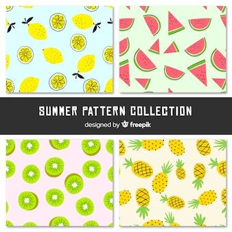 Patrón frutas de verano coloridas