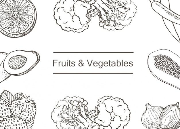 Patron para frutas y verduras dibujado a mano