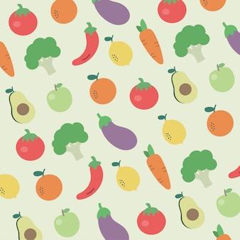 Patrón frutas y verduras foodie saludable colorido