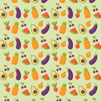 Patrón de frutas y verduras frescas