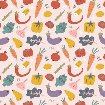 Patrón de frutas y verduras, patrón sin costuras