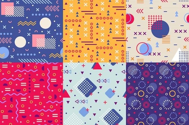 Patrón funky de memphis, fondos de formas abstractas retro de los años 90, patrones de fondo sin costuras de cartel de textura de forma creativa