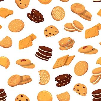 Patrón con galletas de dibujos animados