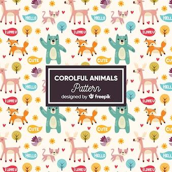 Patrón garabatos animales y palabras coloridos