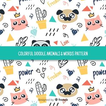 Patrón garabatos coloridos animales domésticos y palabras