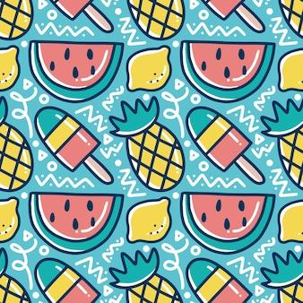 Patrón de garabatos de vacaciones de frutas dibujadas a mano con iconos y elementos de diseño