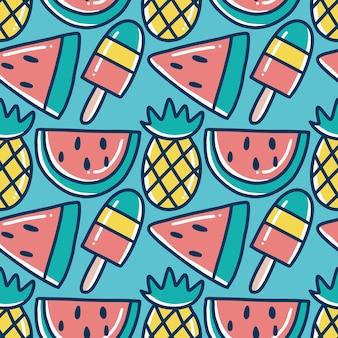 Patrón de garabatos de vacaciones de frutas dibujadas a mano