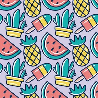 Patrón de garabatos de vacaciones de frutas de hawaii dibujadas a mano con iconos y elementos de diseño