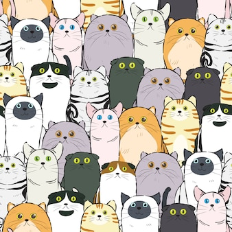Patrón de gato sin costura