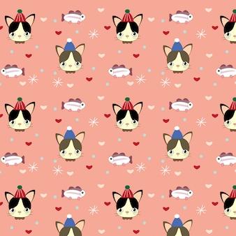 Patrón de gato, pez y corazón sobre fondo rosa