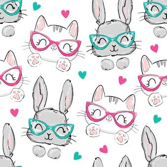 Patrón de gatos y conejos con gafas